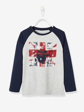 Boys-Tops-T-Shirts-Top for Boys, Graphic Motif, Contrasting Sleeves