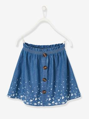 Girls-Skirts-Printed Denim Skirt, for Girls