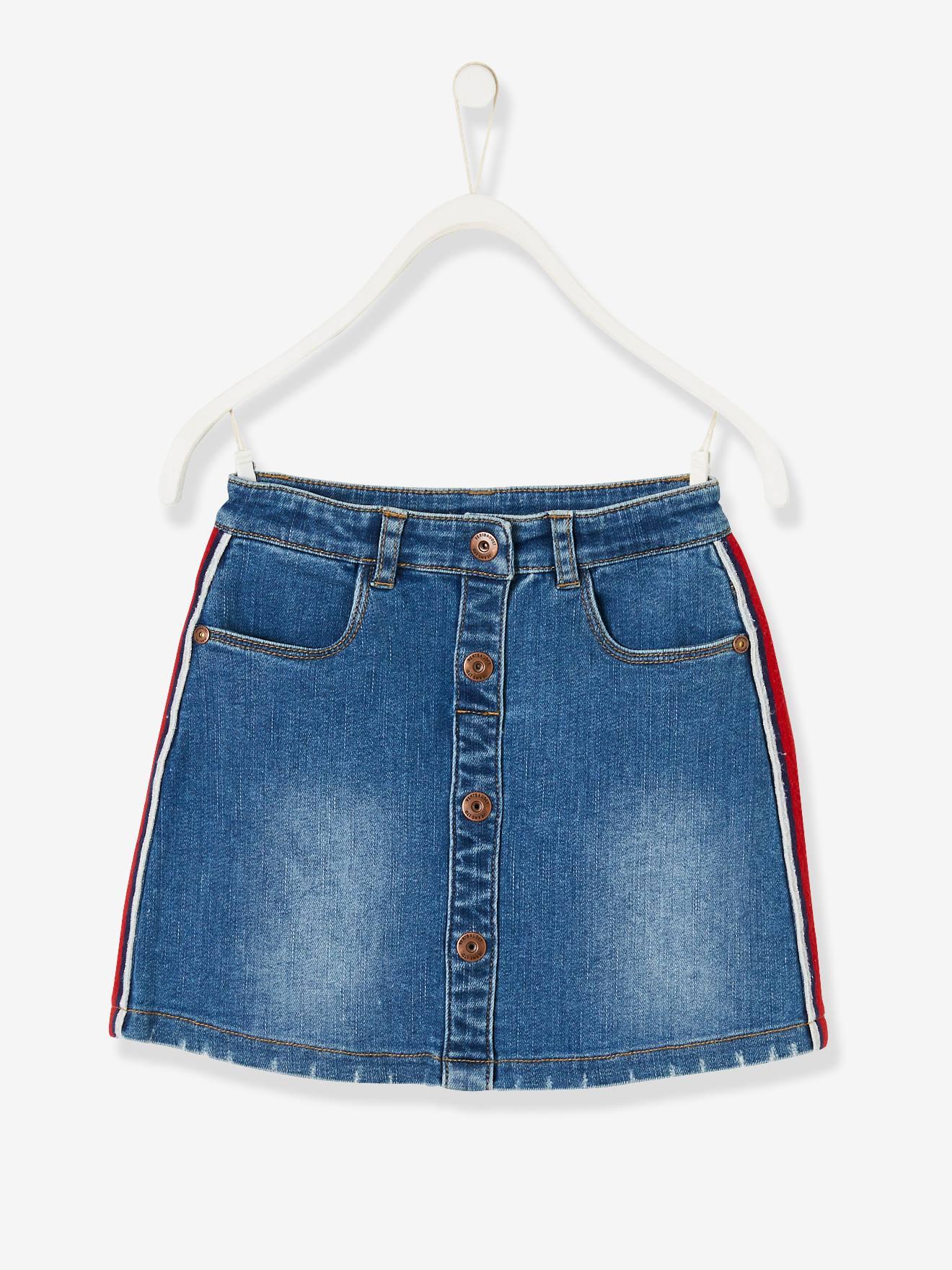 Denim Skirt for Girls, Side Stripes - blue dark wasched, Girls