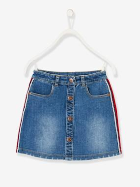 Vertbaudet Collection-Girls-Skirts-Denim Skirt for Girls, Side Stripes