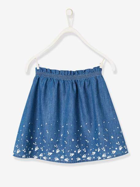 Printed Denim Skirt, for Girls BLUE DARK ALL OVER PRINTED - vertbaudet enfant