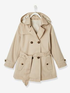 Girls-Coats & Jackets-Trench Coat with Removable Hood, for Girls