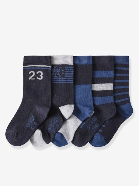 Pack of 5 Pairs of Socks for Boys BLUE DARK TWO COLOR/MULTICOL+GREY MEDIUM TWO COLOR/MULTICOL+RED DARK 2 COLOR/MULTICOLOR - vertbaudet enfant
