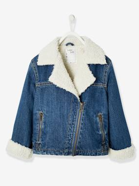 Girls-Coats & Jackets-Denim Jacket with Sherpa Lining for Girls