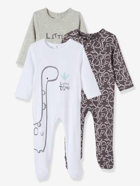 Baby-Pyjamas-Baby Pack of 3 Cotton Sleepsuits