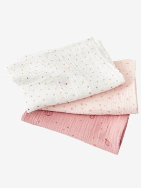 Nursery-Changing Mats-Pack of 3 Nappies in Cotton Gauze