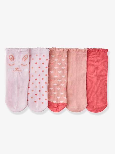 Pack of 5 Pairs of Socks for Baby Girls PINK MEDIUM SOLID - vertbaudet enfant