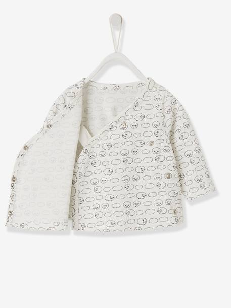 Wrap-Over Jacket for Newborn Babies BLUE MEDIUM SOLID WITH DESIGN+GREY LIGHT MIXED COLOR+WHITE LIGHT ALL OVER PRINTED+WHITE LIGHT SOLID WITH DESIGN - vertbaudet enfant