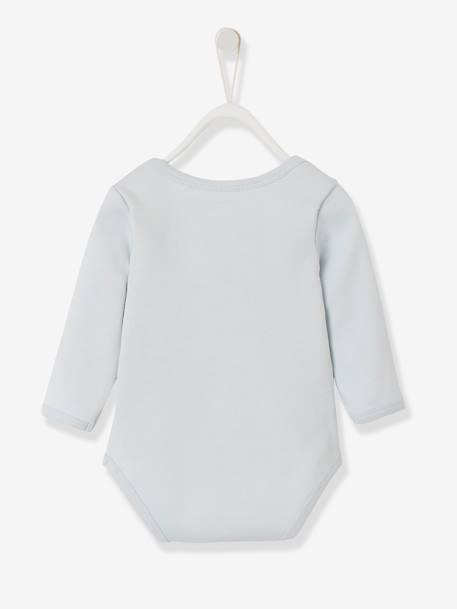 Long-Sleeved Bodysuit for Babies, in Pure Cotton BLUE LIGHT SOLID WITH DESIGN+PINK LIGHT SOLID WITH DESIGN - vertbaudet enfant