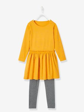 Vertbaudet Collection-Girls-Dresses-Dress + Leggings Combo for Girls