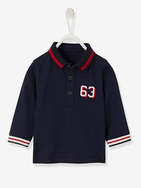 Baby-T-shirts & Roll Neck T-Shirts-Polo Shirt in Soft Jersey Knit, for Baby Boys