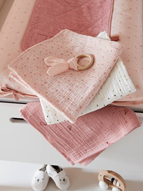 Pack of 3 Nappies in Cotton Gauze PINK MEDIUM ALL OVER PRINTED - vertbaudet enfant