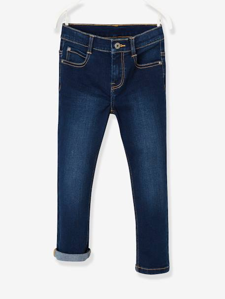 MEDIUM Hip MorphologiK Slim Leg Jeans for Boys BLUE DARK SOLID+BLUE DARK WASCHED+GREY MEDIUM WASCHED - vertbaudet enfant
