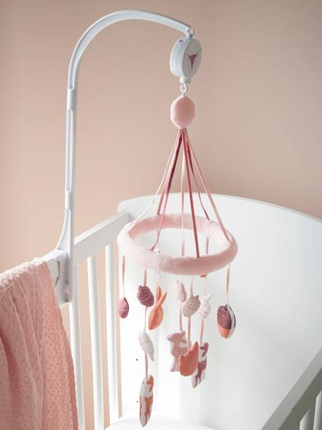 Musical Mobile, BOIS DE CERISIER PINK LIGHT SOLID WITH DESIGN - vertbaudet enfant