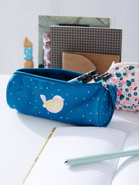 Polka Dotted Pencil Case for Girls with Glittery Bird BLUE MEDIUM SOLID - vertbaudet enfant