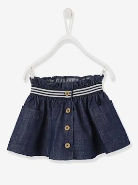 Vertbaudet Collection-Baby-Dresses & Skirts-Denim Skirt, for Baby Girls