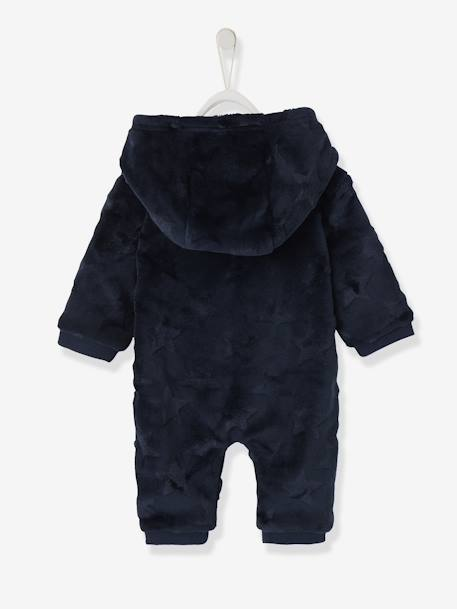 Hooded Onesie for Baby, Plush-Touch BLUE DARK SOLID WITH DESIGN+PINK LIGHT SOLID WITH DESIGN - vertbaudet enfant