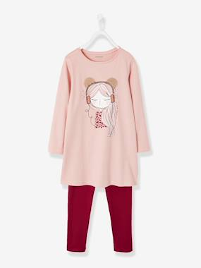 Girls-Nightwear-Nightdress + Leggings for Girls in Cotton Jersey