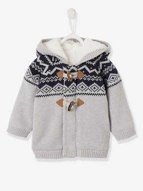 Baby-Jumpers, Cardigans & Sweaters-Hooded Jacquard Jacket with Faux Fur for Baby Boys