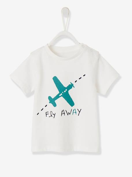 Short-sleeved T-shirt for Baby Boys WHITE LIGHT SOLID WITH DESIGN - vertbaudet enfant