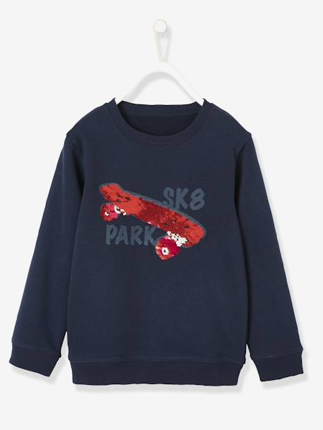 Sweatshirt with Sequinned Skateboard, for Boys BLUE DARK MIXED COLOR - vertbaudet enfant