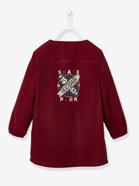 Smock with Skateboard Motif for Boys BROWN DARK SOLID - vertbaudet enfant