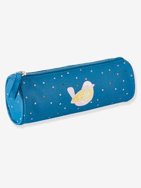 Girls-Accessories-Polka Dotted Pencil Case for Girls with Glittery Bird