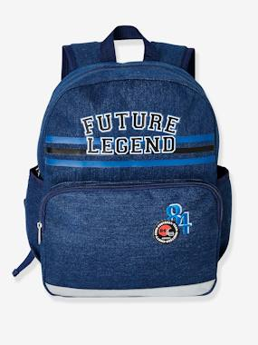 Boys-Accessories-School Supplies-Backpack in Denim with Patches, for Boys