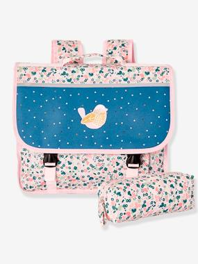 Girls-Accessories-Satchel & Matching Pencil Case for Girls, Floral Motifs