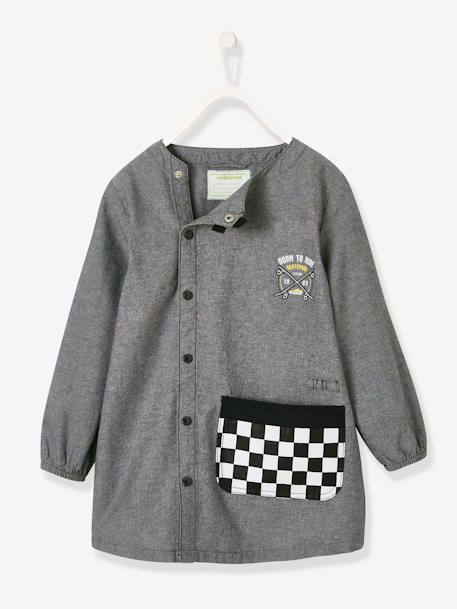 Smock with Skateboard Motif for Boys GREY DARK SOLID - vertbaudet enfant