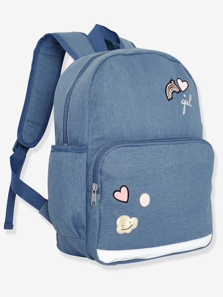Denim Backpack for Girls, with Decorative Badges BLUE DARK WASCHED - vertbaudet enfant
