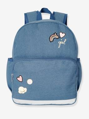 Girls-Accessories-Denim Backpack for Girls, with Decorative Badges