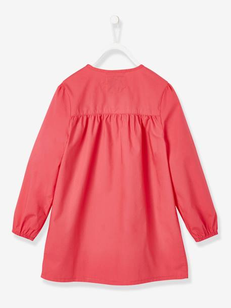 Smock with Iridescent Motif for Girls RED LIGHT SOLID - vertbaudet enfant