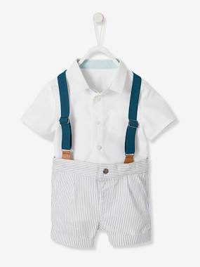 Festive favourite-Baby-Occasion Wear Ensemble: Shirt, Shorts & Braces for Baby Boys