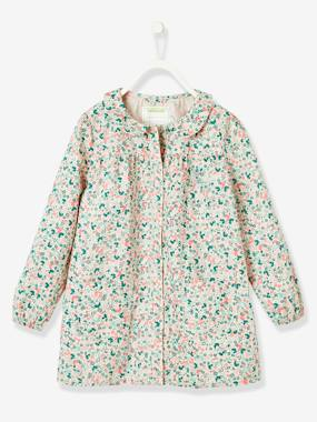 Customization - embroidery-Smock with Floral Print for Girls