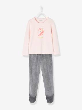 Girls-Nightwear-Velour Footed Pyjamas for Girls