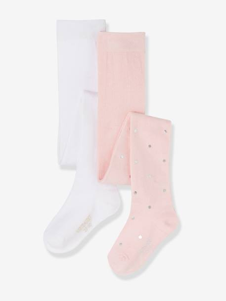 Pack of 2 Fancy Tights BLACK DARK SOLID+PINK LIGHT SOLID - vertbaudet enfant
