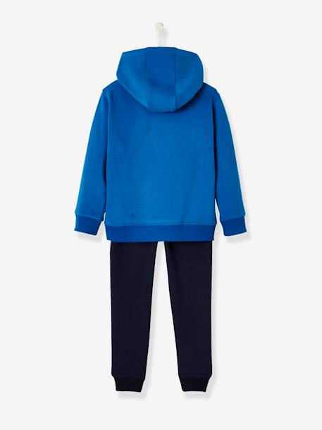 Sports Combo: Hooded Sweatshirt & Joggers for Boys BLUE BRIGHT SOLID WITH DESIGN+BLUE DARK SOLID WITH DESIGN - vertbaudet enfant