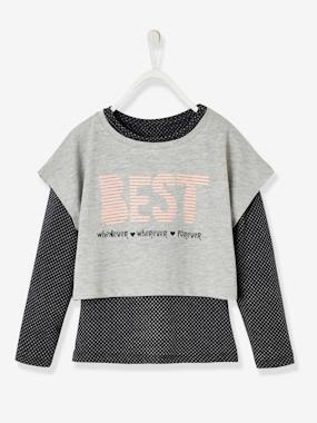 Vertbaudet Collection-Girls-Sportswear-Long-Sleeved T-Shirt + Sports Top Combo, for Girls