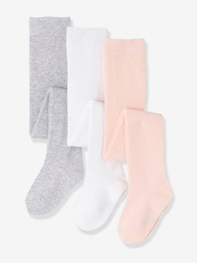 Vertbaudet Basics-Baby-Baby Girl's Pack of 3 Tights