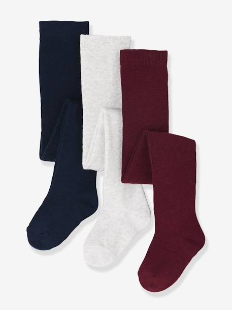 Lot de 3 collants bébé maille BLANC/ROSE CLAIR/GRIS CHINE+LOT BORDEAUX+LOT CUIVRE IRISE+LOT MARINE GRISE+Lot noir - vertbaudet enfant