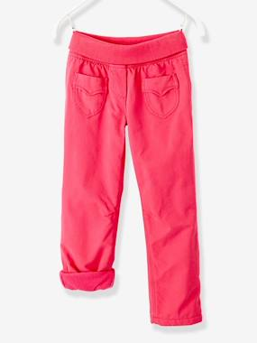 Vertbaudet - Trousers girls boys and babys-Girls-Girls' Fleece-Lined Indestructible Trousers