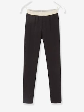 Vertbaudet Basics-Girls-Leggings with Iridescent Waistband for Girls