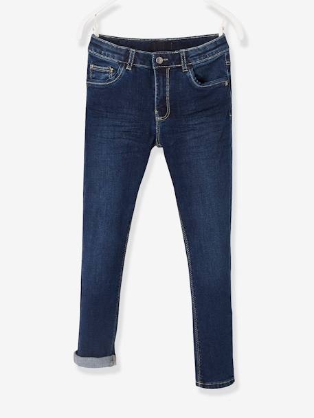 MEDIUM Fit, Girls' Slim Fit Jeans BLUE DARK SOLID+BLUE DARK WASCHED+GREY MEDIUM WASCHED - vertbaudet enfant