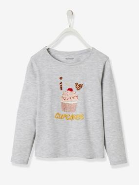 Girls-Tops-T-Shirts-Top with Cupcake Motif for Girls