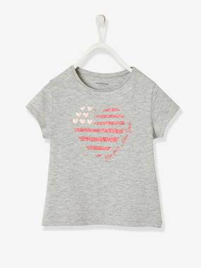 Vertbaudet Collection-Girls-Tops-T-Shirt with Fun Message, for Girls