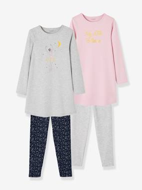 Vertbaudet Basics-Girls-Pack of 2 Jersey Knit Nightdresses + Cotton Leggings for Girls