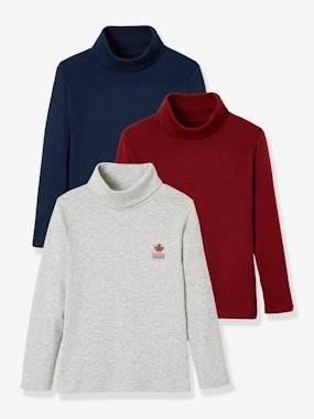 Boys-Tops-Roll Neck T-Shirts-Pack of 3 Turtleneck Tops for Boys