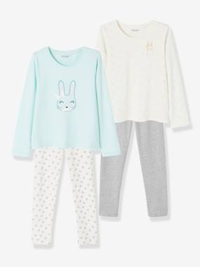Vertbaudet Basics-Girls-Pack of 2 Cotton Pyjamas for Girls, Bunny