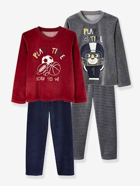 Vertbaudet Collection-Boys-Pack of 2 Velour Pyjamas for Boys, Playtime
